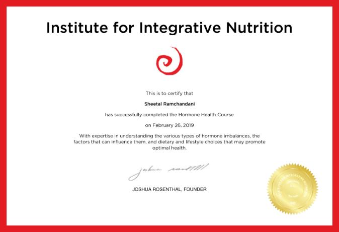 Hormone Health Certificate