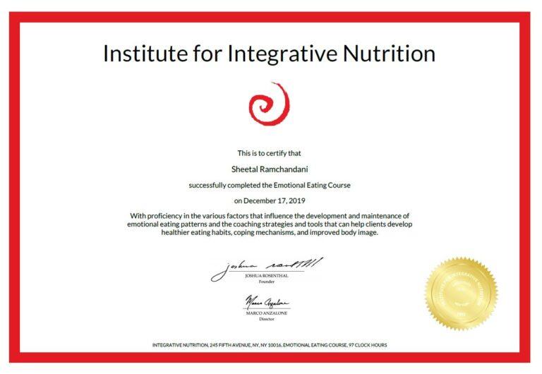 Emotional Eating Certificate